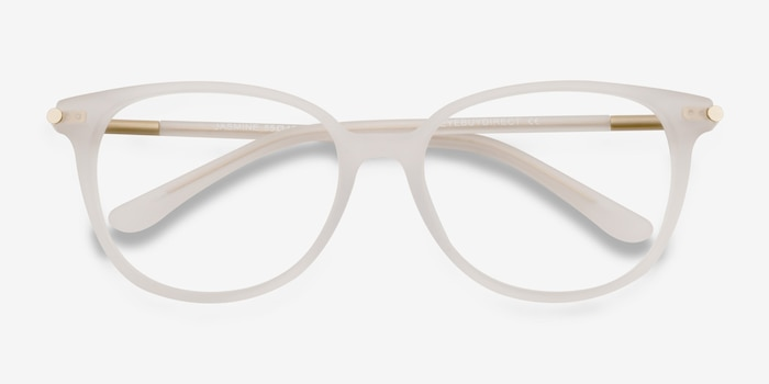Jasmine White Acetate Eyeglass Frames from EyeBuyDirect, Closed View
