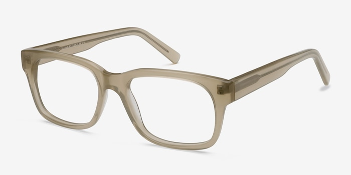 Lynch Light Beige Acetate Eyeglass Frames from EyeBuyDirect, Angle View