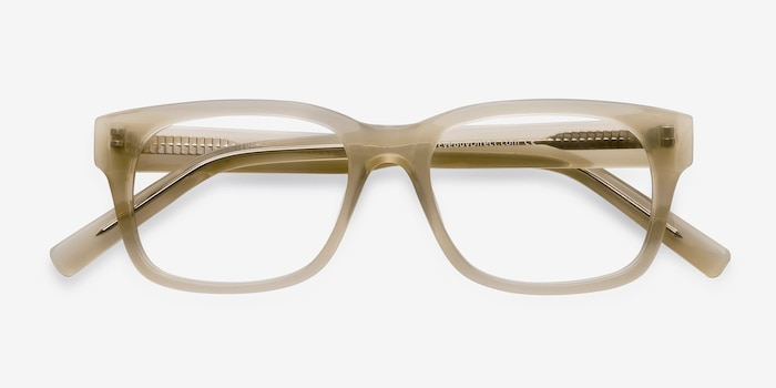 Lynch Light Beige Acetate Eyeglass Frames from EyeBuyDirect, Closed View