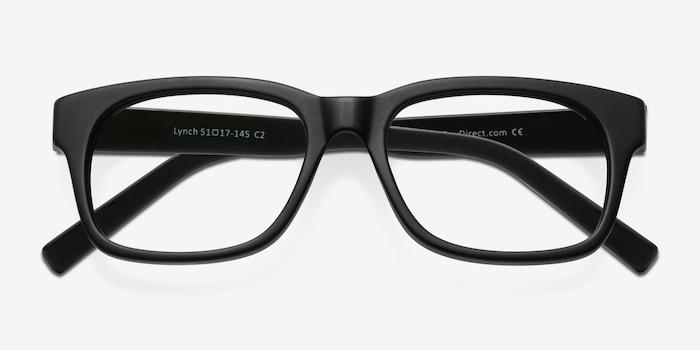 Lynch Matte Black Acetate Eyeglass Frames from EyeBuyDirect, Closed View