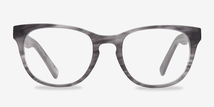 Confidence Gray Striped Acetate Eyeglass Frames from EyeBuyDirect, Front View