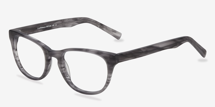 Confidence Gray Striped Acetate Eyeglass Frames from EyeBuyDirect, Angle View
