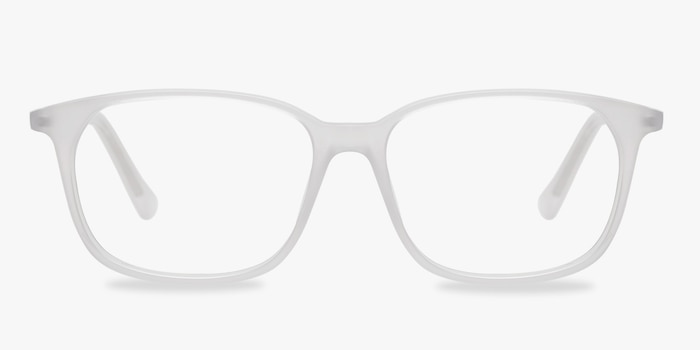 The Bay Clear White Acetate Eyeglass Frames from EyeBuyDirect, Front View
