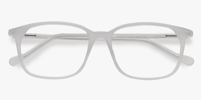 The Bay Clear White Acetate Eyeglass Frames from EyeBuyDirect, Closed View