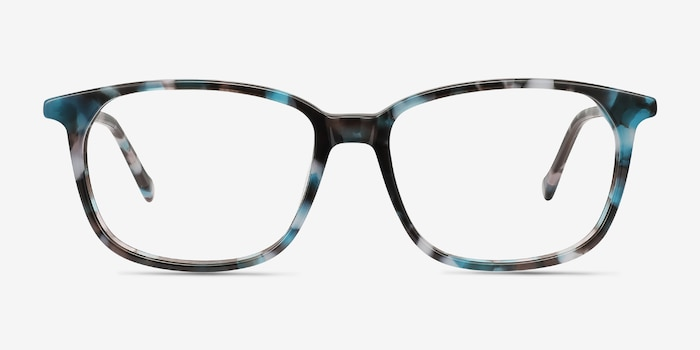 The Bay Blue Floral Acetate Eyeglass Frames from EyeBuyDirect, Front View
