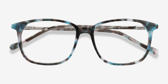 The Bay Blue Floral Acetate Eyeglass Frames from EyeBuyDirect, Closed View