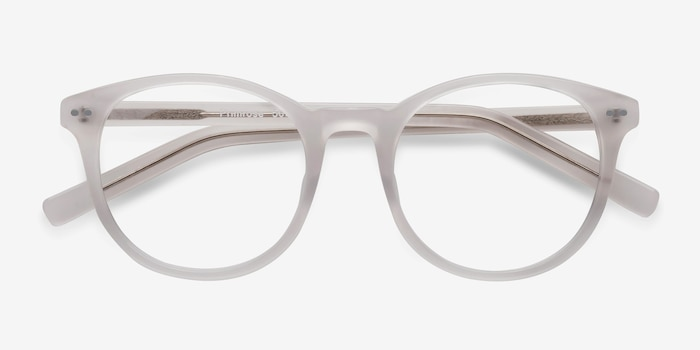 Primrose White Acetate Eyeglass Frames from EyeBuyDirect, Closed View