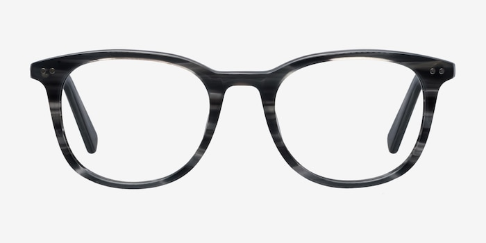 Demain  Gray Striped  Acetate Eyeglass Frames from EyeBuyDirect, Front View