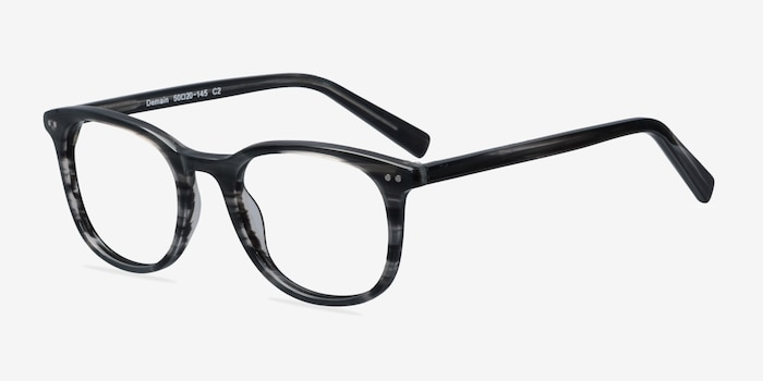 Demain  Gray Striped  Acetate Eyeglass Frames from EyeBuyDirect, Angle View