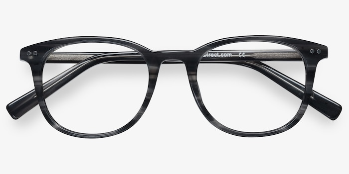 Demain  Gray Striped  Acetate Eyeglass Frames from EyeBuyDirect, Closed View