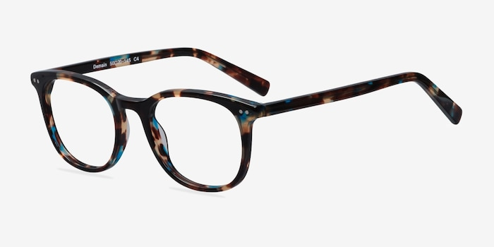 Demain  Blue Floral  Acetate Eyeglass Frames from EyeBuyDirect, Angle View