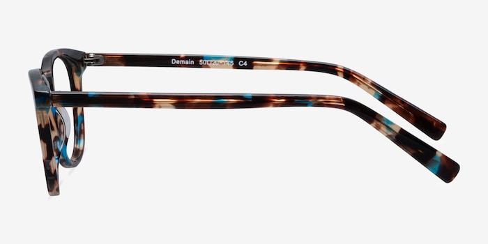 Demain  Blue Floral  Acetate Eyeglass Frames from EyeBuyDirect, Side View