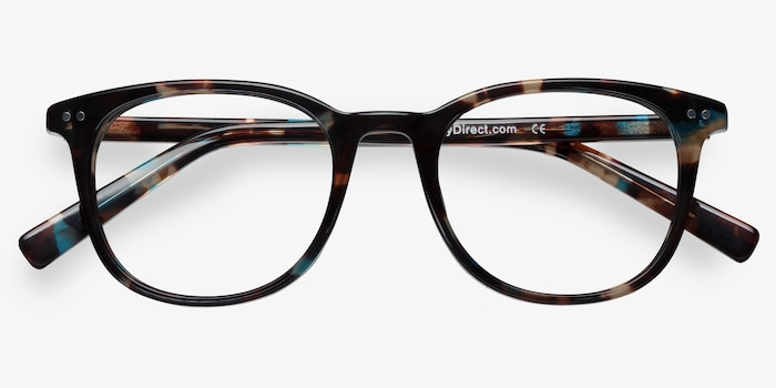 Demain  Blue Floral  Acetate Eyeglass Frames from EyeBuyDirect, Closed View