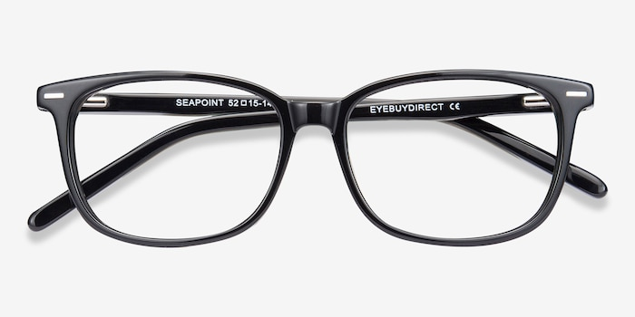 Seapoint Black Acetate Eyeglass Frames from EyeBuyDirect, Closed View