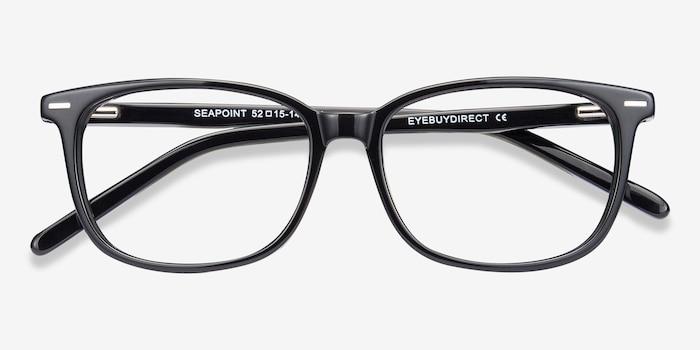 Seapoint Noir Acétate Montures de Lunettes d'EyeBuyDirect, Vue Rapprochée