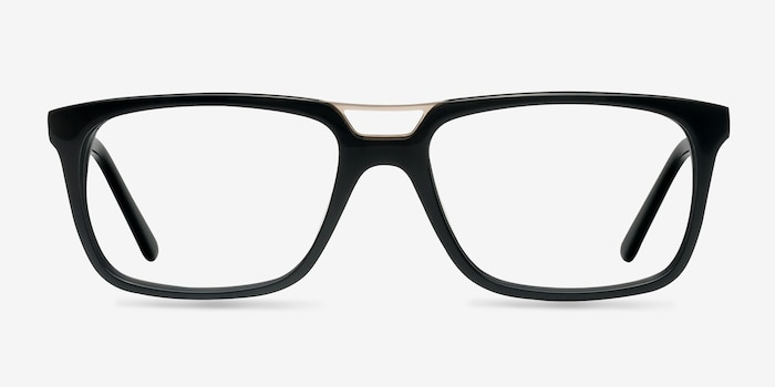 Evening Black Acetate Eyeglass Frames from EyeBuyDirect, Front View