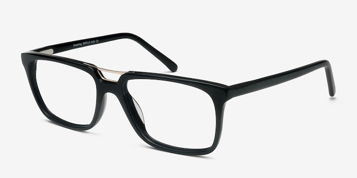 Evening Black Acetate Eyeglass Frames from EyeBuyDirect, Angle View