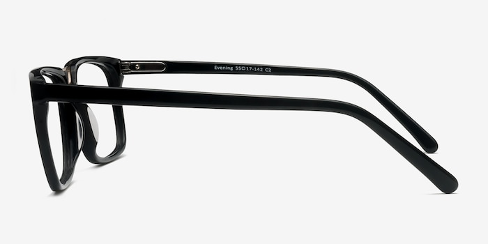 Evening Black Acetate Eyeglass Frames from EyeBuyDirect, Side View