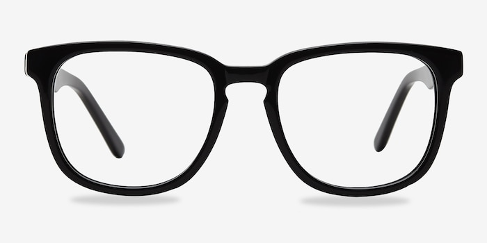 Sail Black Acetate Eyeglass Frames from EyeBuyDirect, Front View