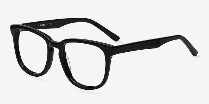 Sail Black Acetate Eyeglass Frames from EyeBuyDirect, Angle View