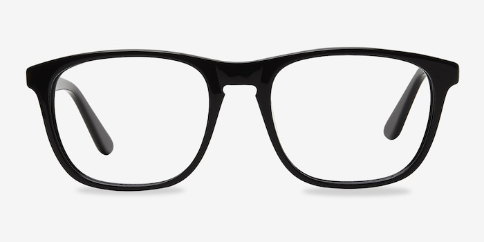 Damien Black Acetate Eyeglass Frames from EyeBuyDirect, Front View