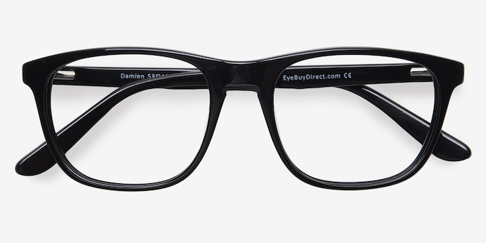Damien Black Acetate Eyeglass Frames from EyeBuyDirect, Closed View