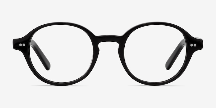 Homer Black Acetate Eyeglass Frames from EyeBuyDirect, Front View