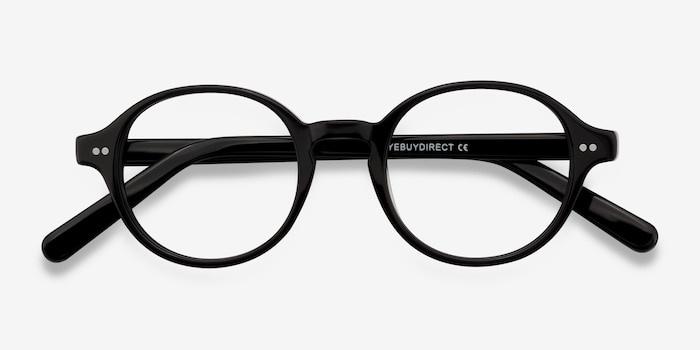 Homer Black Acetate Eyeglass Frames from EyeBuyDirect, Closed View