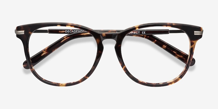 Decadence Tortoise Acetate Eyeglass Frames from EyeBuyDirect, Closed View