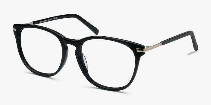 Decadence Black Acetate Eyeglass Frames from EyeBuyDirect, Angle View