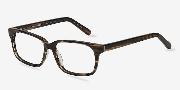 Edit Brown Striped Acetate Eyeglass Frames from EyeBuyDirect, Angle View