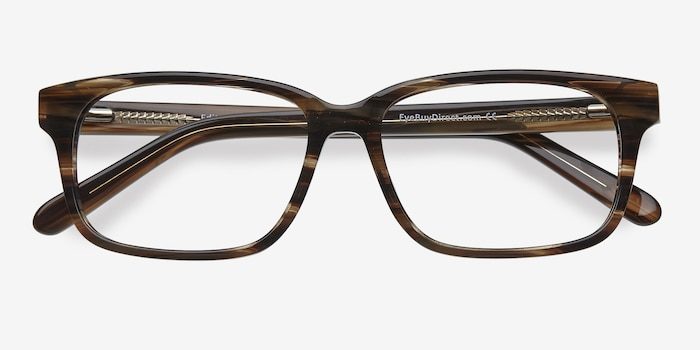 Edit Brown Striped Acetate Eyeglass Frames from EyeBuyDirect, Closed View