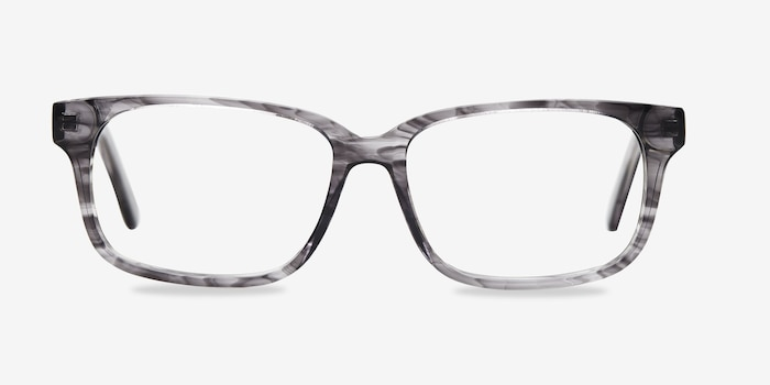 Edit Clear Gray Acétate Montures de Lunettes d'EyeBuyDirect, Vue de Face