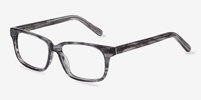 Edit Clear Gray Acetate Eyeglass Frames from EyeBuyDirect, Angle View