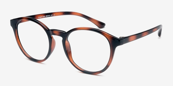 Bright Side Brown Tortoise Plastic Eyeglass Frames from EyeBuyDirect, Angle View