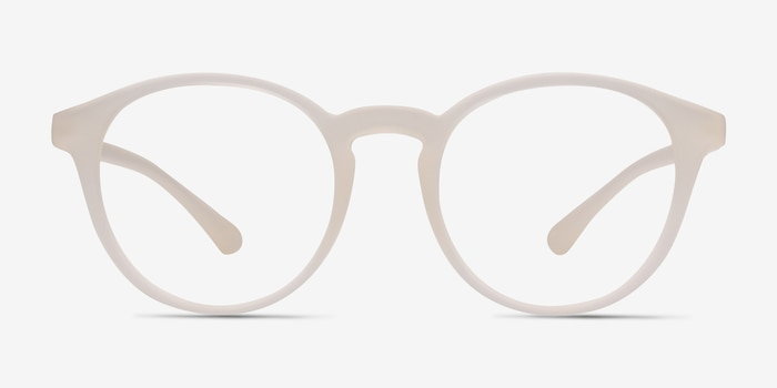 Bright Side Clear White Plastic Eyeglass Frames from EyeBuyDirect, Front View