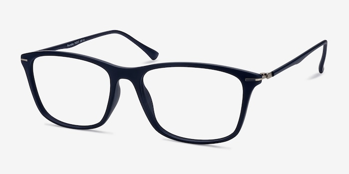 Thursday Navy Plastic Eyeglass Frames from EyeBuyDirect, Angle View