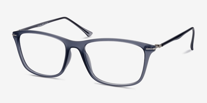 Thursday Gray Plastic Eyeglass Frames from EyeBuyDirect, Angle View
