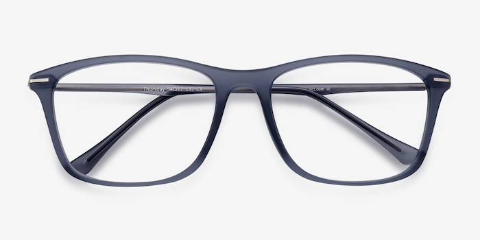 Thursday Gray Plastic Eyeglass Frames from EyeBuyDirect, Closed View