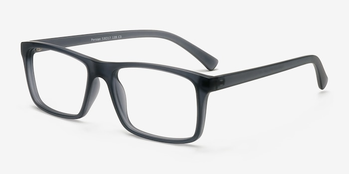 Persian Matte Gray Plastic Eyeglass Frames from EyeBuyDirect, Angle View