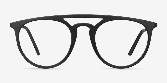 Fiasco Matte Black Plastic Eyeglass Frames from EyeBuyDirect, Front View