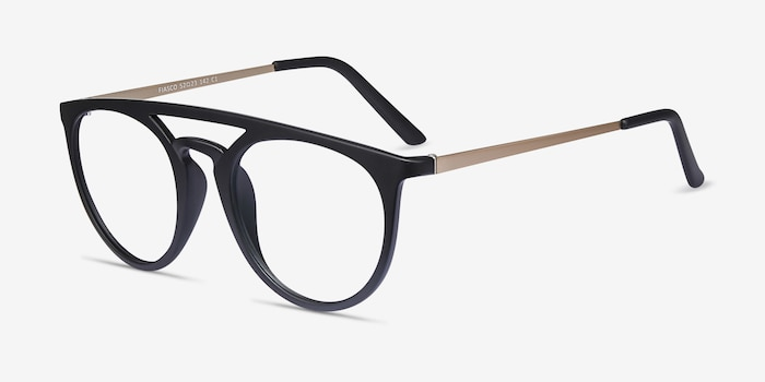 Fiasco Matte Black Plastic Eyeglass Frames from EyeBuyDirect, Angle View