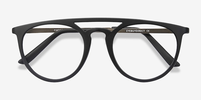 Fiasco Matte Black Plastic Eyeglass Frames from EyeBuyDirect, Closed View