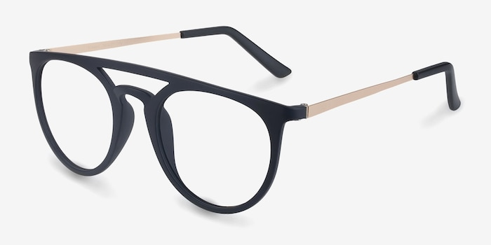 Fiasco Matte Navy Plastic Eyeglass Frames from EyeBuyDirect, Angle View