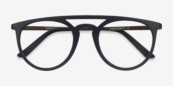 Fiasco Matte Navy Plastic Eyeglass Frames from EyeBuyDirect, Closed View