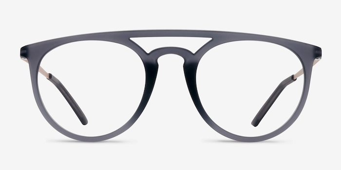 Fiasco  Matte Gray  Metal Eyeglass Frames from EyeBuyDirect, Front View