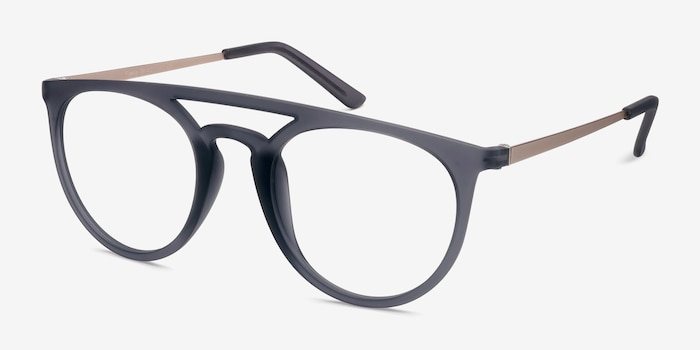 Fiasco  Matte Gray  Metal Eyeglass Frames from EyeBuyDirect, Angle View