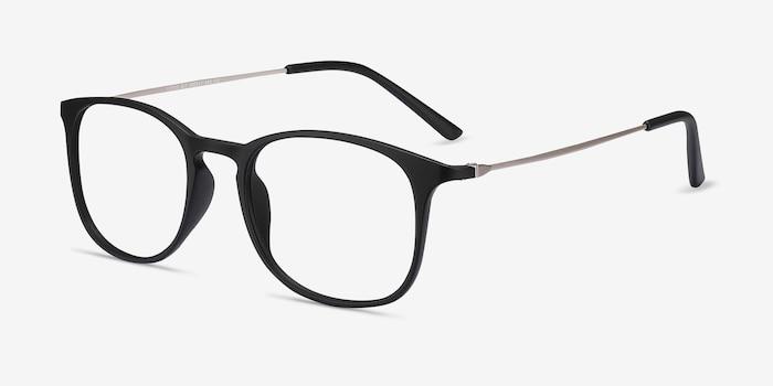 Little Bit Matte Black Plastic Eyeglass Frames from EyeBuyDirect, Angle View
