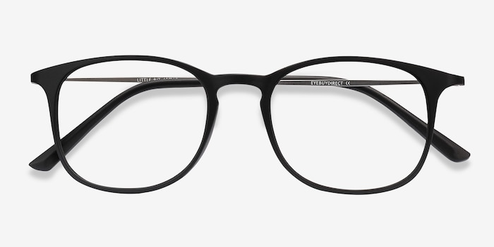 Little Bit Matte Black Plastic Eyeglass Frames from EyeBuyDirect, Closed View