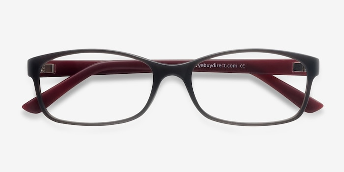 Beads Matte Gray Plastic Eyeglass Frames from EyeBuyDirect, Closed View